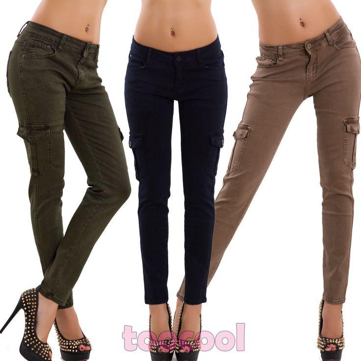 Women's Jeans cargo pants pockets skinny members elasticated new DF9976