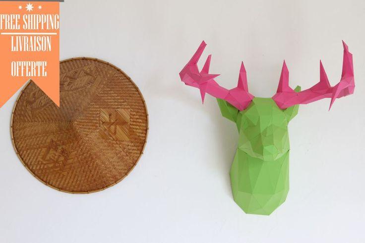 Trophée de chasse.Tête de CERF fait en papier de couleur. En KIT DIY, à monter vous-même. Sculpture murale personnalisable, diy hand