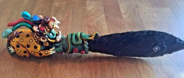 "Aztec Inspired Jaguar Obsidian Ritual Knife, Approx 13"" Long, Intricately Carved"