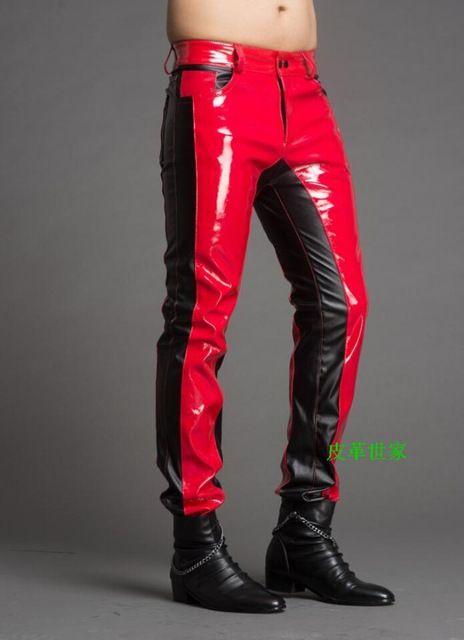 새로운 남성 가짜 가죽 바지 지퍼 디자인 스웨트 남자 스키니 오토바이 체인 조깅 캐주얼 블랙 양피 바지 29-39