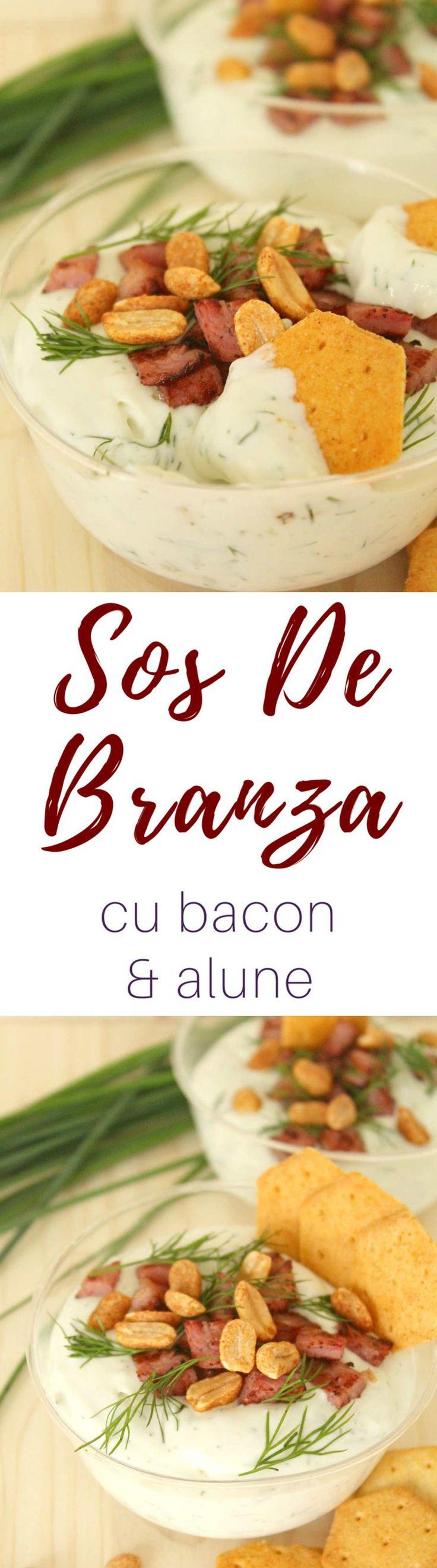 SOS DE BRANZA CU BACON - Acest aperitiv de sos de branza cu bacon afumat este ideal pentru petreceri! Serveste-l rece sau cald, copt în cupe individuale, alaturi de struguri proaspeți sau biscuiti picanti.