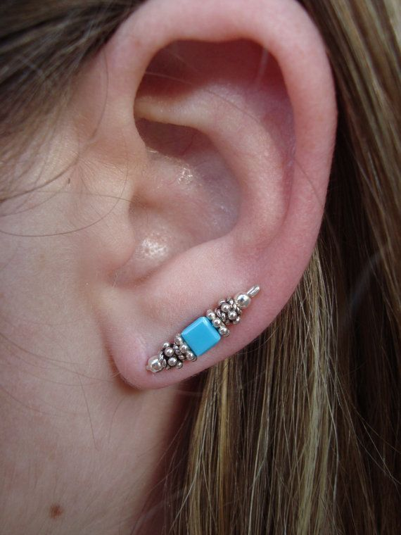 Sterling Silver Turquoise Ear Pins by AwarenessProducts on Etsy, $25.00