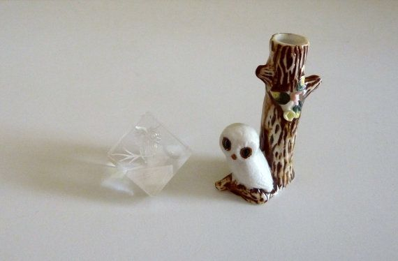 Vintage Pair of Owl Figurines - One Ceramic Snowy Owl Figurine from Giftcraft and One Acrylic Cube Owl