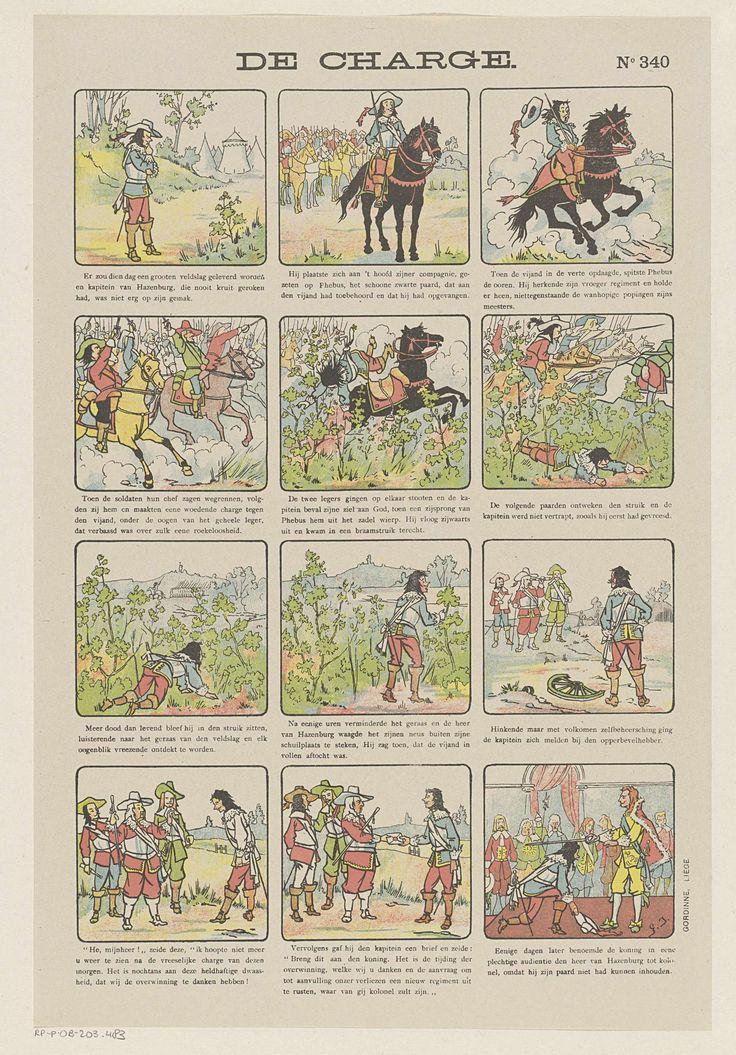 Monogrammist G.J.   De charge, Monogrammist G.J., Gordinne, 1894 - 1959   Blad met 12 voorstellingen over Hannibal van Hazenburg die per ongeluk zorgt voor de overwinning tijdens een veldslag. Hij wordt door de koning benoemd tot kolonel. Onder elke afbeelding een onderschrift. Genummerd rechtsboven: No 340.