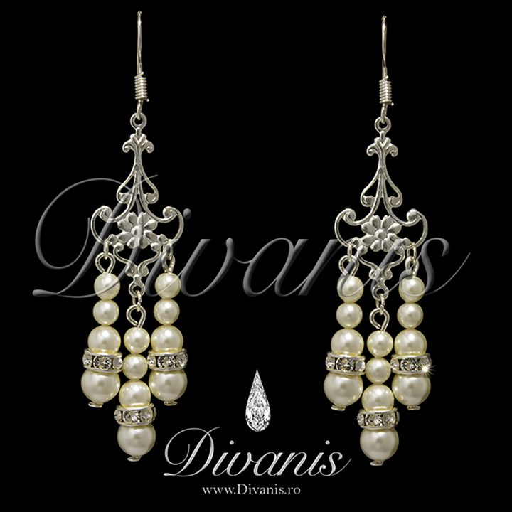 Dya Earrings with Swarovski crystals and pearls http://www.divanis.ro/cercei-dya.html
