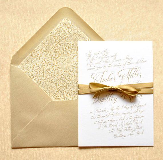Gold Wedding Invitations Gold Calligraphy