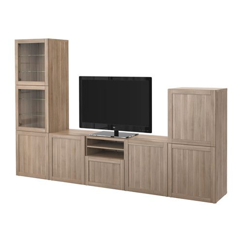 BESTÅ TV storage combination/glass doors - Hanviken/Sindvik gray stained walnut eff clear glass, drawer runner, push-open - IKEA