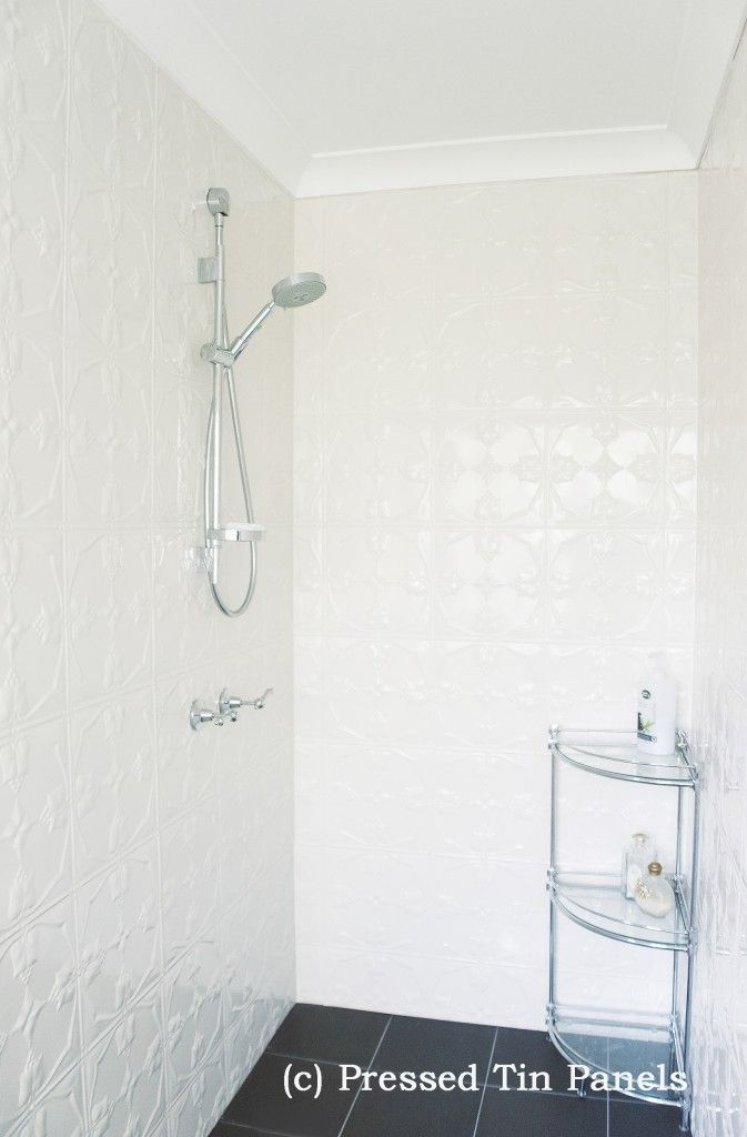 This could be a solution. Pressed Tin Panel Tulip 900x1800 Shoji White used in Bathroom Shower Recess