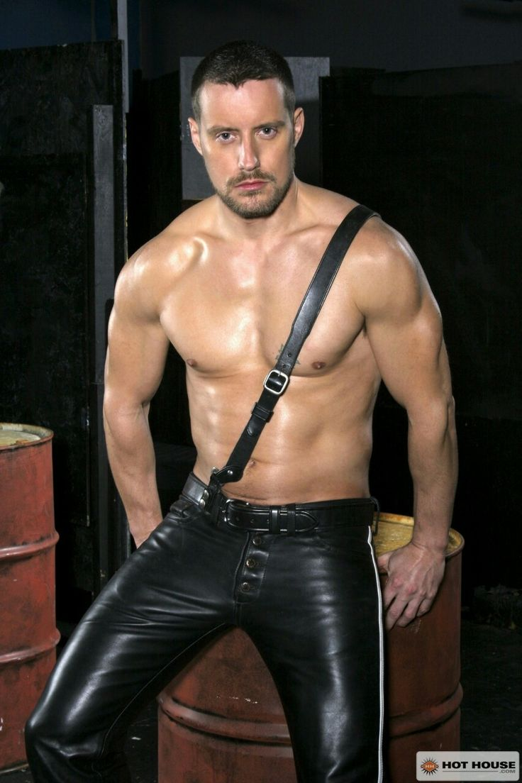 Handsome Young Man Wearing Leather Jacket Naked Torso Photos