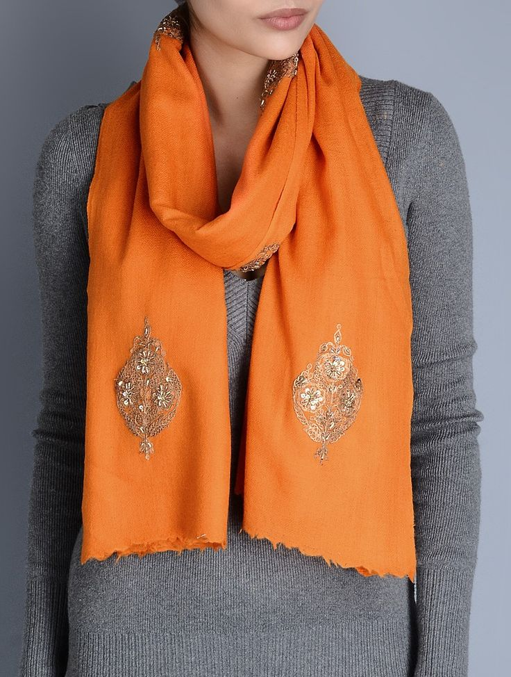 Buy Orange Gota Patti Cashmere Wool Stole Accessories Scarves & Stoles Glimmering Wraps Hand Embellished Online at Jaypore.com