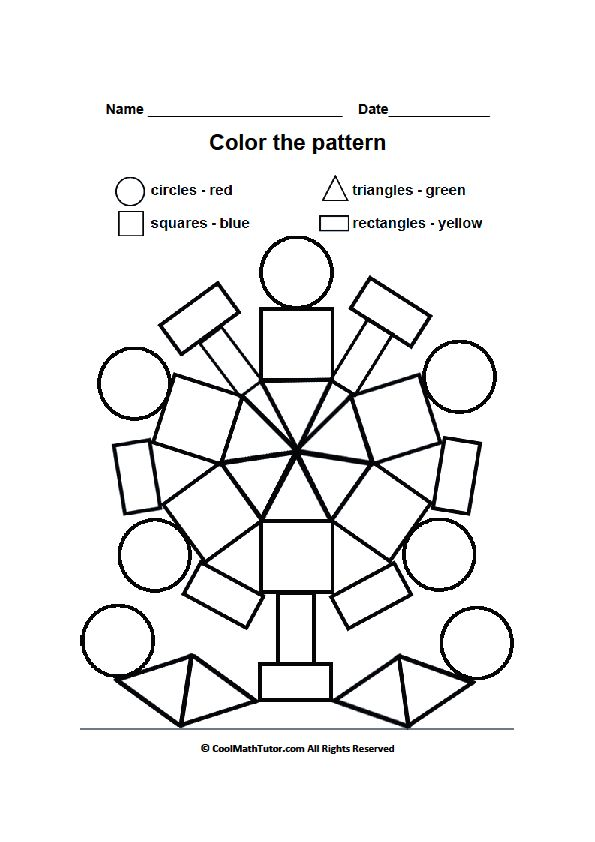 Printable Color by Shape Worksheet for Preschool Kids