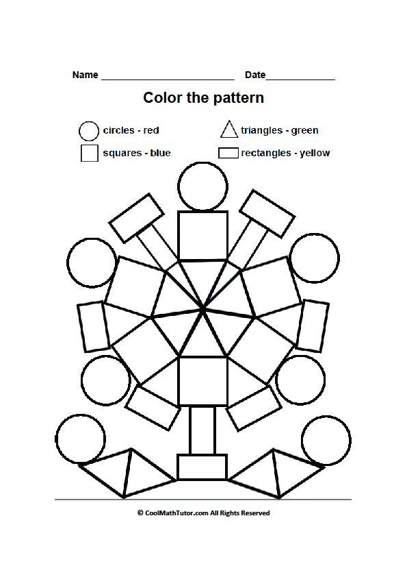 Printable Color by Shape Worksheet for Preschool Kids