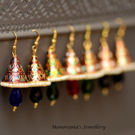Pakhi Earrings  Gorgeous Meenakari Work by ManoramasJewellery