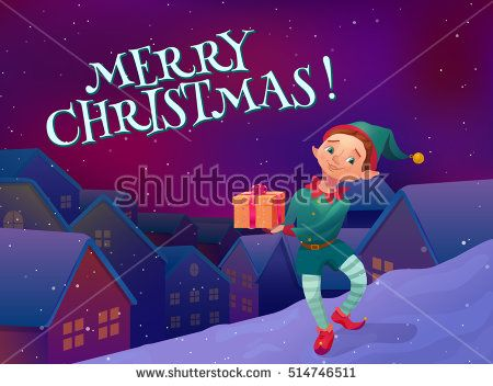 Merry christmas card.Cute elf with a gift box. Christmas cartoon