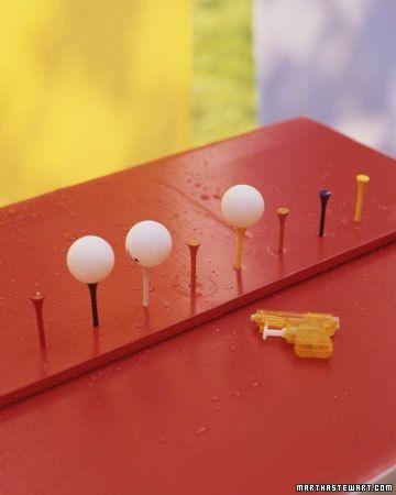 Balles de pingpong et pistolet à eau
