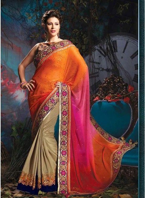 Scintillating Beige, Deep Orange & Pink Embroidered #Saree