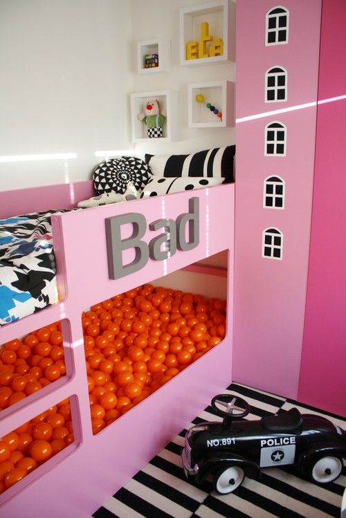 Play Ball Bed! A great idea for a children's room, a bunk occupied on one level with a bed and another with a ball pit! I just wonder how I get them out of the pool at bedtime.