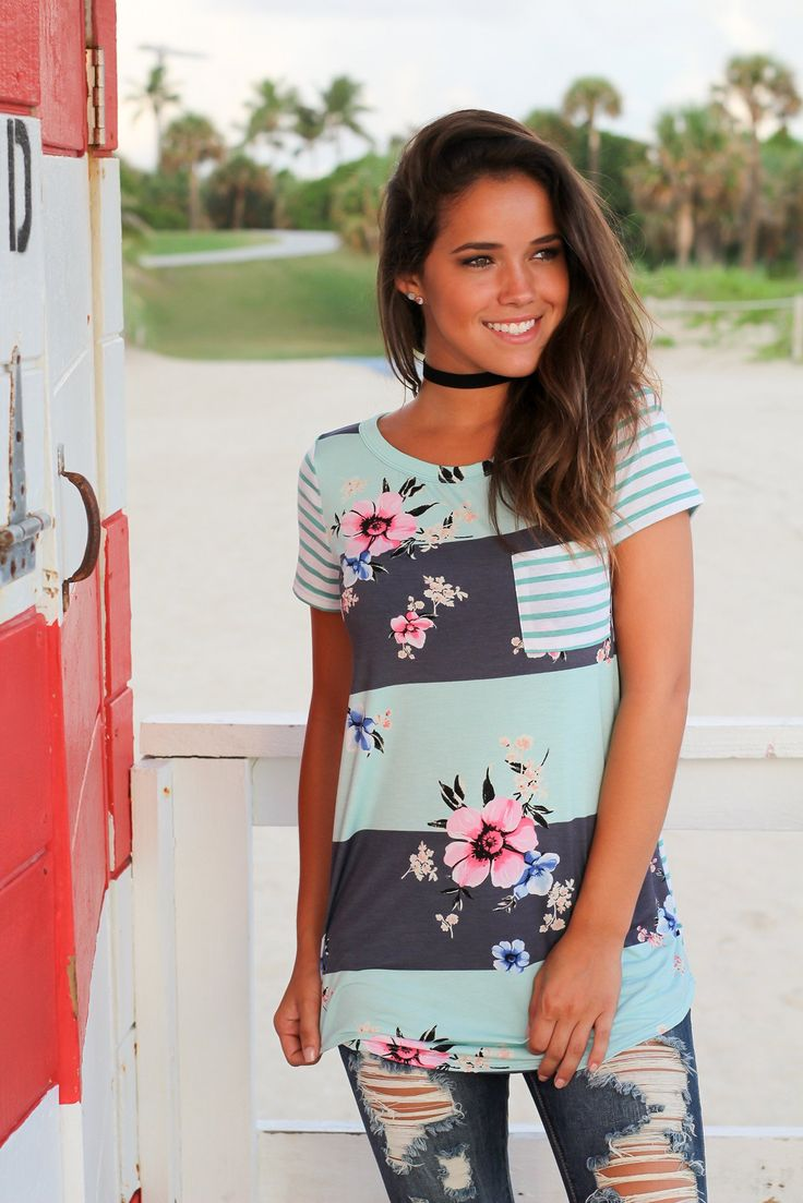 Mint and Navy Floral Striped Top