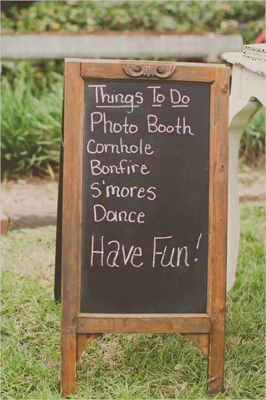 A chalk board sign for things to do at the reception would make a perfect addition to a glamping wedding #glamping #wedding