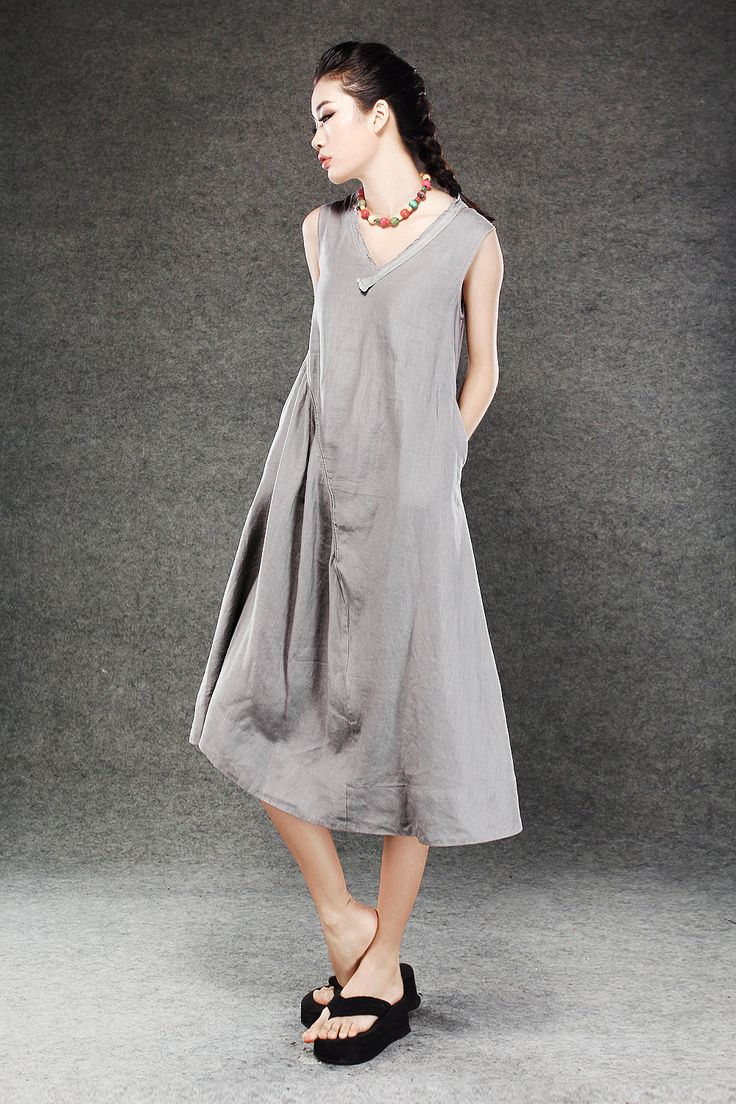 Gray Linen Dress Lagenlook Midi Length Sleeveless V Neck
