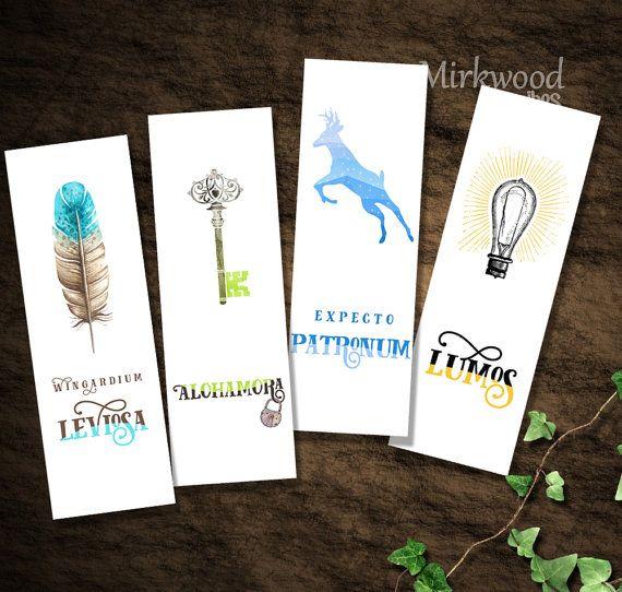 Marcadores de libros imprimibles de Harry Potter |  Asistente de los hechizos y encantos | Hechizos de Hogwarts Wingardium Leviosa Lumos Expecto Patronum Alohamora
