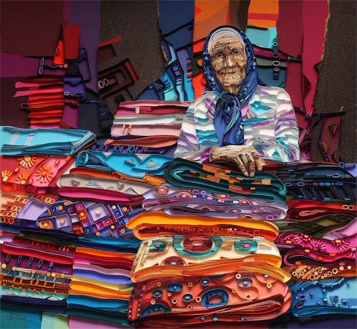 Colorful Paper Quilled Portraits Explore the Stories Told Through Faces of the Elderly - My Modern Met