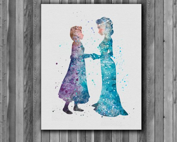 Hey, I found this really awesome Etsy listing at https://www.etsy.com/listing/213116072/elsa-and-anna-disney-watercolor-frozen