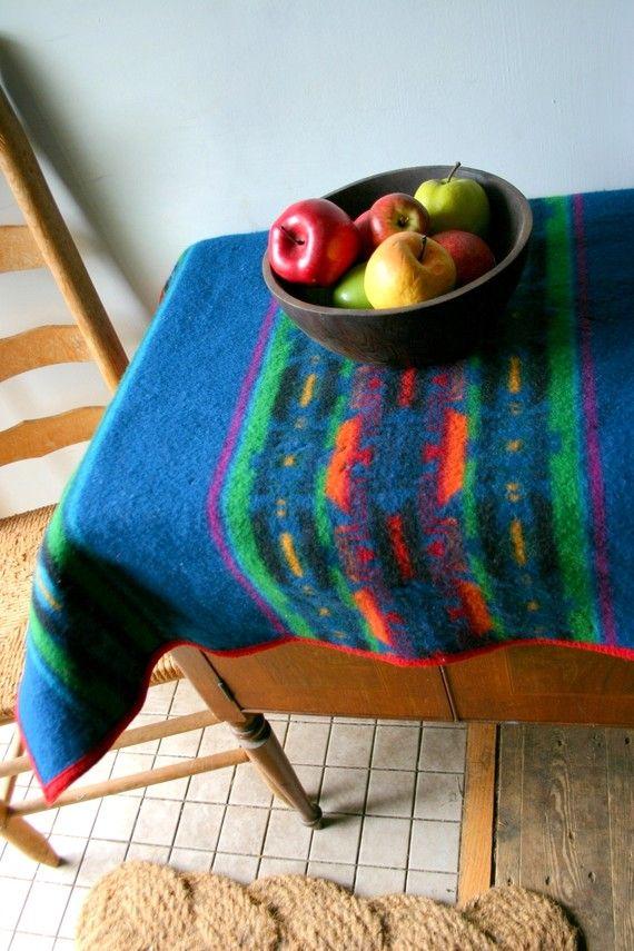 Vintage Bright Navajo Pendleton Wool Crib  Blanket by CaptainCat, $95.00