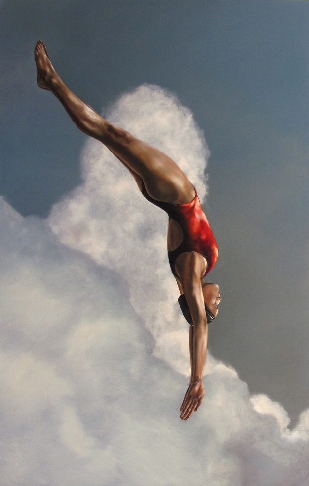 Eric Zener Red Diver, 38 x 60, 2011 oil on canvas