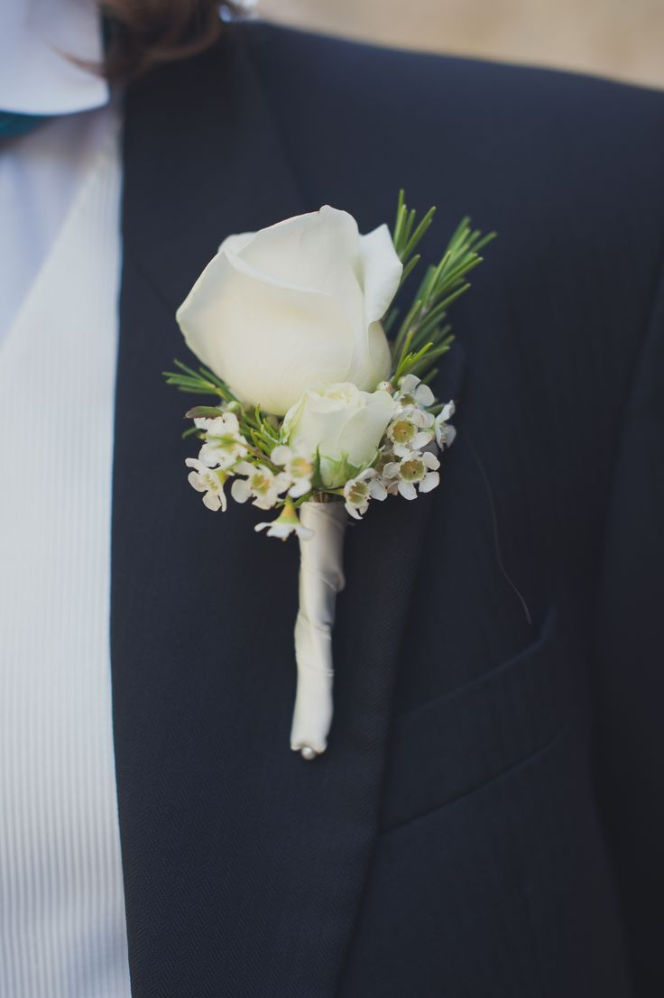 White rose and rosemary Button holes