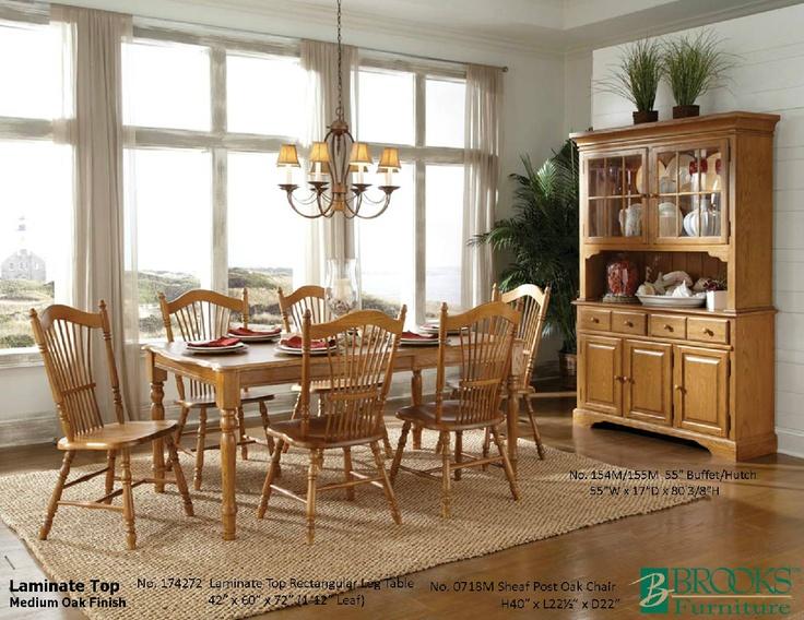 Brooks Furniture Dining Room Laminate Top Medium Oak Finish Table 174272