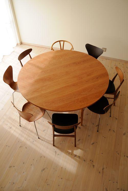 チェリー超特大丸ダイニングテーブル(4本脚) 直径180cm / カグオカ