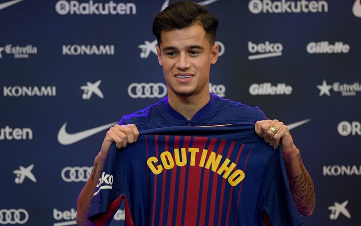Download wallpapers Philippe Coutinho, FC Barcelona, footballers, FCB, La Liga, Barca, soccer, football club, Barcelona, creative, LaLiga, Barcelona FC