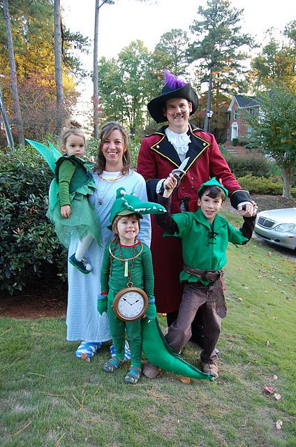 Peter Pan costume with tinker bell, captain hook, tick tock croc and wendy