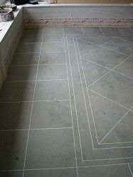 DIY to make acid stained concrete look like tile