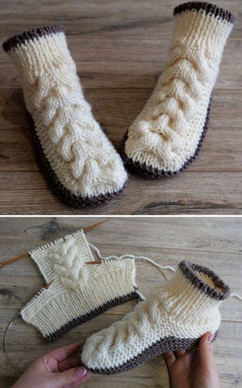 Wolle Kabelschuhe – Free Knitting Pattern   – Knitting Patterns