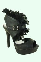 Step up into the center of the party in these dramatic yet dainty platform high heels featuring a peep toe, a sky-high 1.25 inch platform and a fabulous 5 inch stiletto heel with a strappy belt buckle front for closure. These experts-only high heel sandals are perfected by a sweet mesh ruffle trim for a flirty touch...51/2-10...$69.99!!