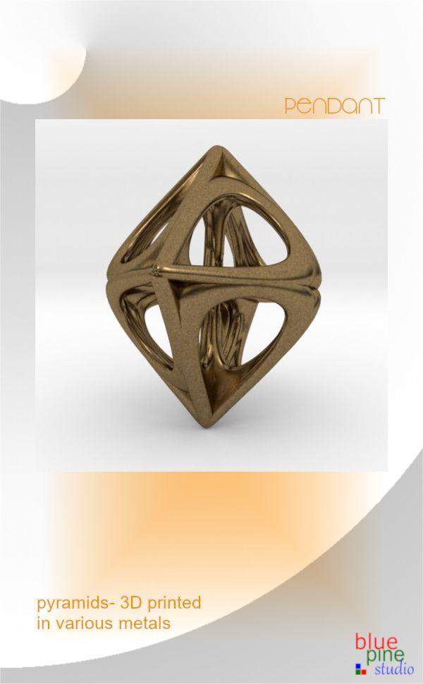 Pyramids- a pendant 3D printed in Various metals