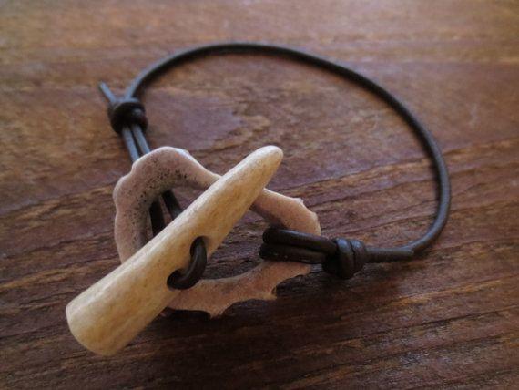 Antler Toggle Clasp Bracelet Anklet Bone Beads by AntlerArtisans