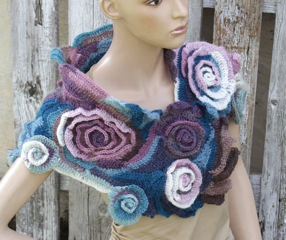 Crochet Scarf Freeform crochet roses Womens scarf Wedding scarf Capelet Neck Warmer blue colored Ecru unique desing textured scarf