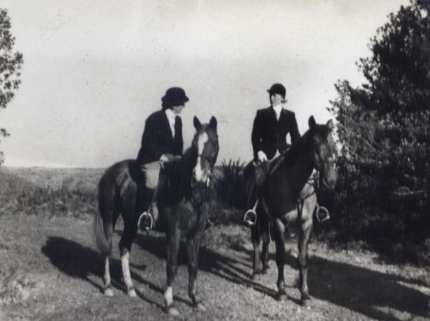Two of the older Longstaff Longstaff girls out for a ride.
