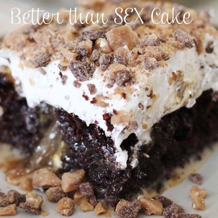 Carissa's Food Blog: Better than Sex...Cake. Make it just like this, but use butterfingers instead of Heath bar