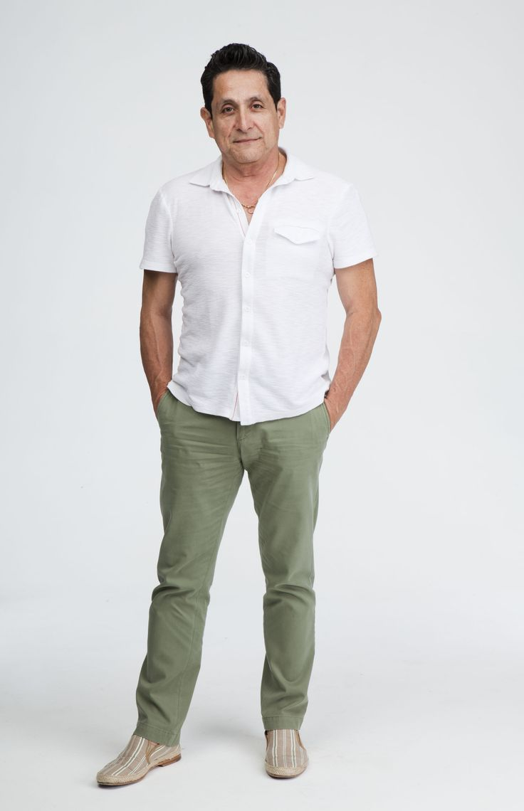 Jose Alas Look of the Day. Shirt by A/X Armani Exchange, trousers by Banana Republic, and slip on's by n.dc. shoes.