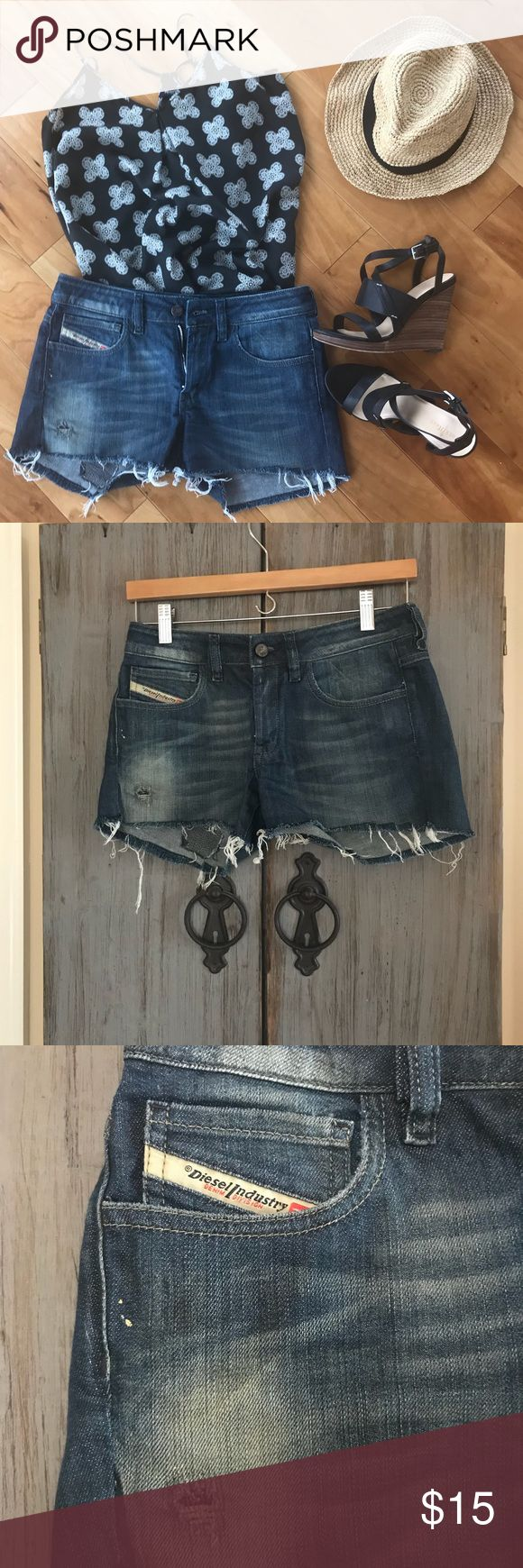 Diesel Jeans cut off shorts Diesel cut off shorts. These run small, more like a 24/25. Cotton and elastane. Dark wash. Great condition. Diesel Shorts Jean Shorts