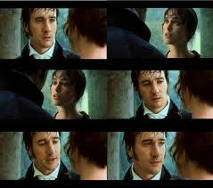 Mr. Darcy: Miss Elizabeth. I have struggled in vain and I can bear it no longer. These past months have been a torment. I came to Rosings with the single object of seeing you… I had to see you. I have fought against my better judgment, my family's expectations, the inferiority of your birth by rank and circumstance. These things I am willing to put aside and ask you to end my agony.  Lizzie: I don't understand.  Mr. Darcy: I love you. Most ardently. Please do me the honor of accepting my…