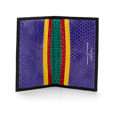 Snakeskin Credit Card Case in Black with Rainbow Snake - Luxury Leather Wallets, Leather Handbags, Cufflinks - British Luxury Leather Goods from Aspinal of London