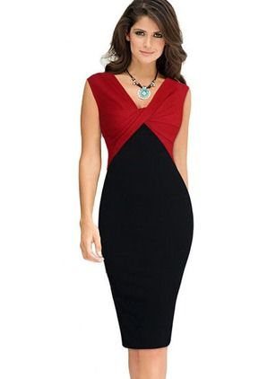 Cotton Blends Color Block Sleeveless Knee-Length Elegant Dresses (01955090960)