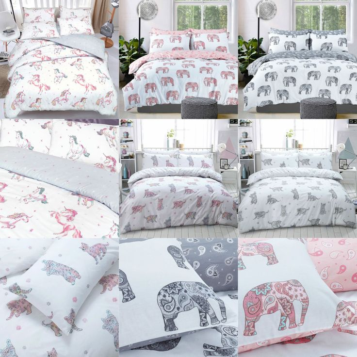 Elephant Cat Unicorn Duvet Cover Set with Pillow Cases Polycotton Bedding Sets #Pieraide