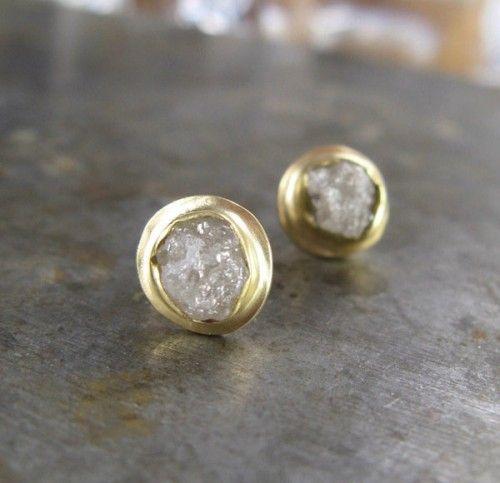 Raw diamond earring. Beautiful!!
