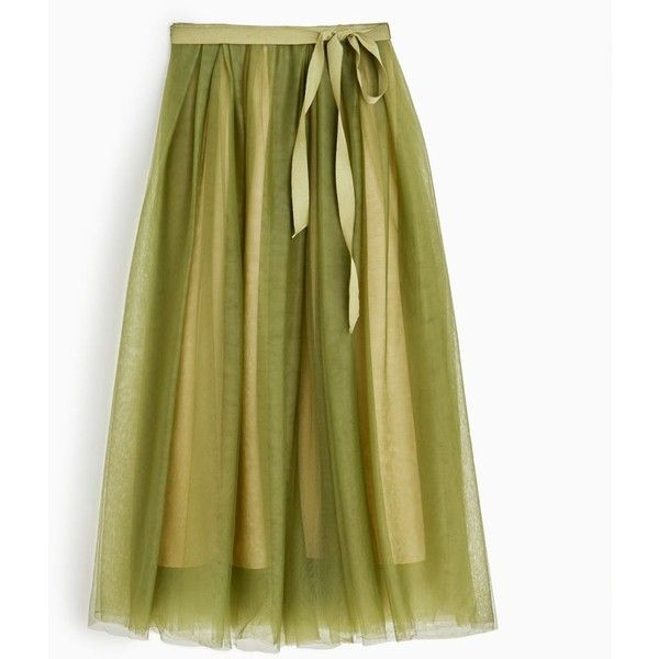 J.Crew Tulle Ball Skirt ($260) ❤ liked on Polyvore featuring skirts, long maxi skirts, long green maxi skirt, shiny skirt, lined skirt and green skirt